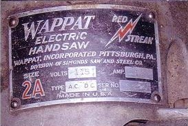 Name Tag from Fred W Wappat Electric Hand Saw